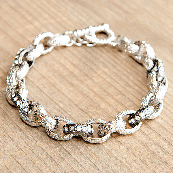 Classic Crystal Link Bracelet Silver with Marcasite