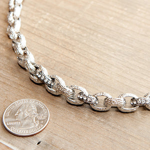 Classic Crystal Link Necklace Silver with Marcasite