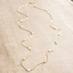 Crystal Eternity Necklace Long Gold