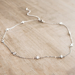 Crystal Eternity Necklace Short Silver