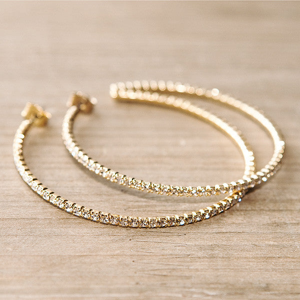 Flexible Swarovski Hoop Earrings Gold
