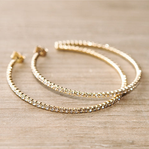 Crystal Cross Hoop Earrings in Gold