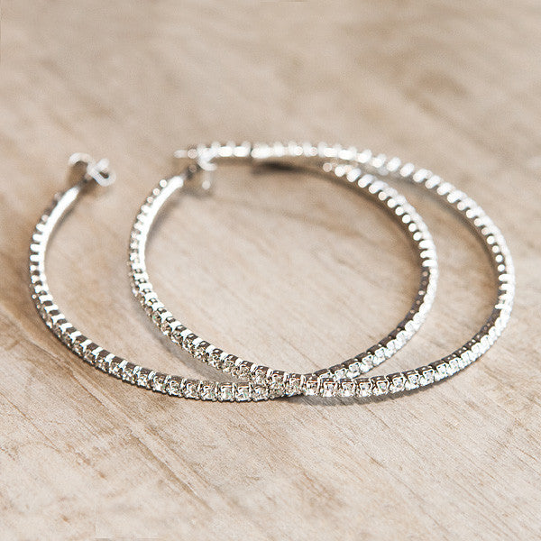 Flexible Swarovski Hoop Earrings Silver  Flexible Swarovski Hoop Earrings  Silver ... bc90e6e6443c