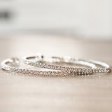 Flexible Swarovski Hoop Earrings Silver
