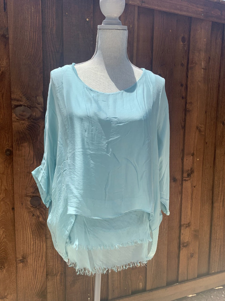 Raw Edge Silk Kaftan Blouse Teal