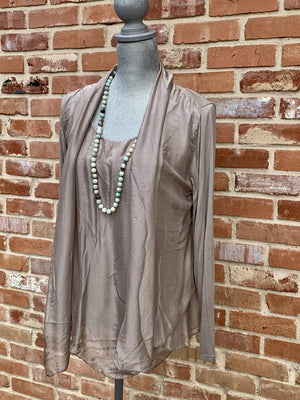 Silk Tan Spaghetti Strap Tank and Cardigan 2 piece Set