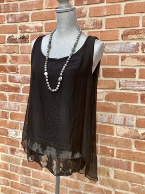 Black Silk Lace Bottom Tank and Cardigan 2 piece Set