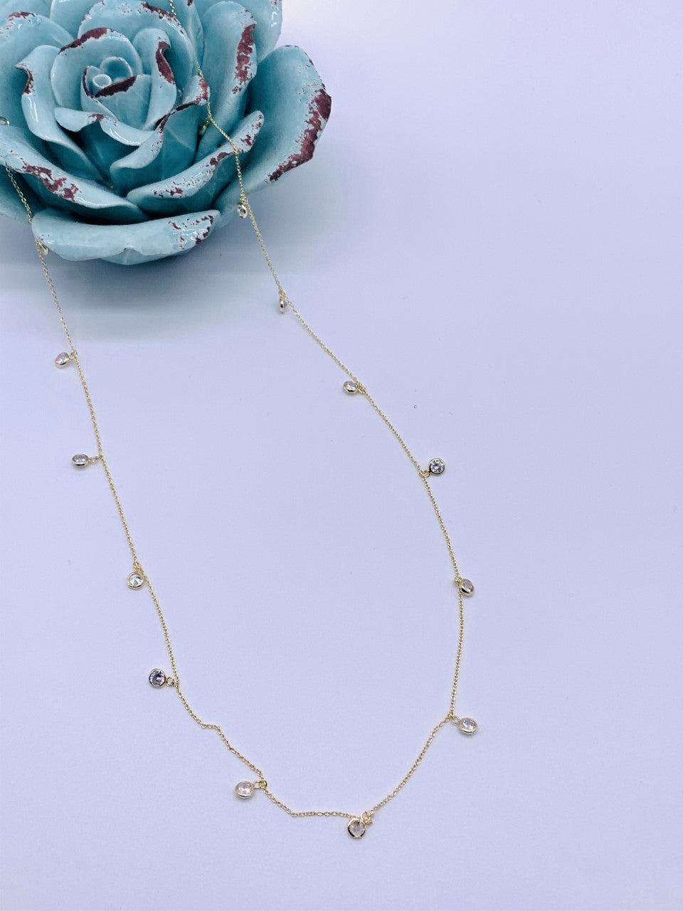 Long Dancing Diamonds Necklace Swarovski Crystal Gold or Silver