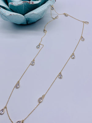 Long Dancing Tears Necklace Swarovski Crystal Gold or Silver