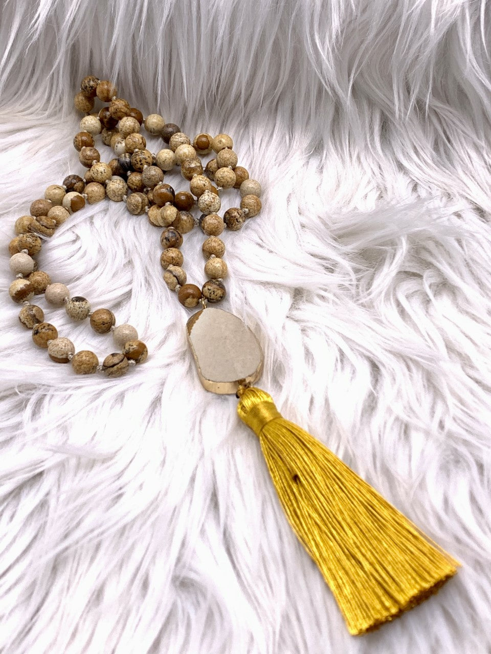 Natural Agate Bead Tassel Necklace