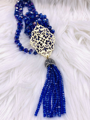 Crystal Bead Medalion Tassel Necklace Blue