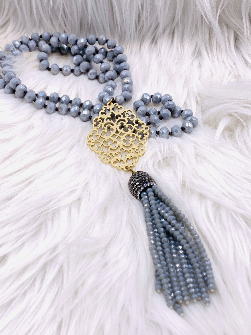 Crystal Bead Medalion Tassel Necklace Grey