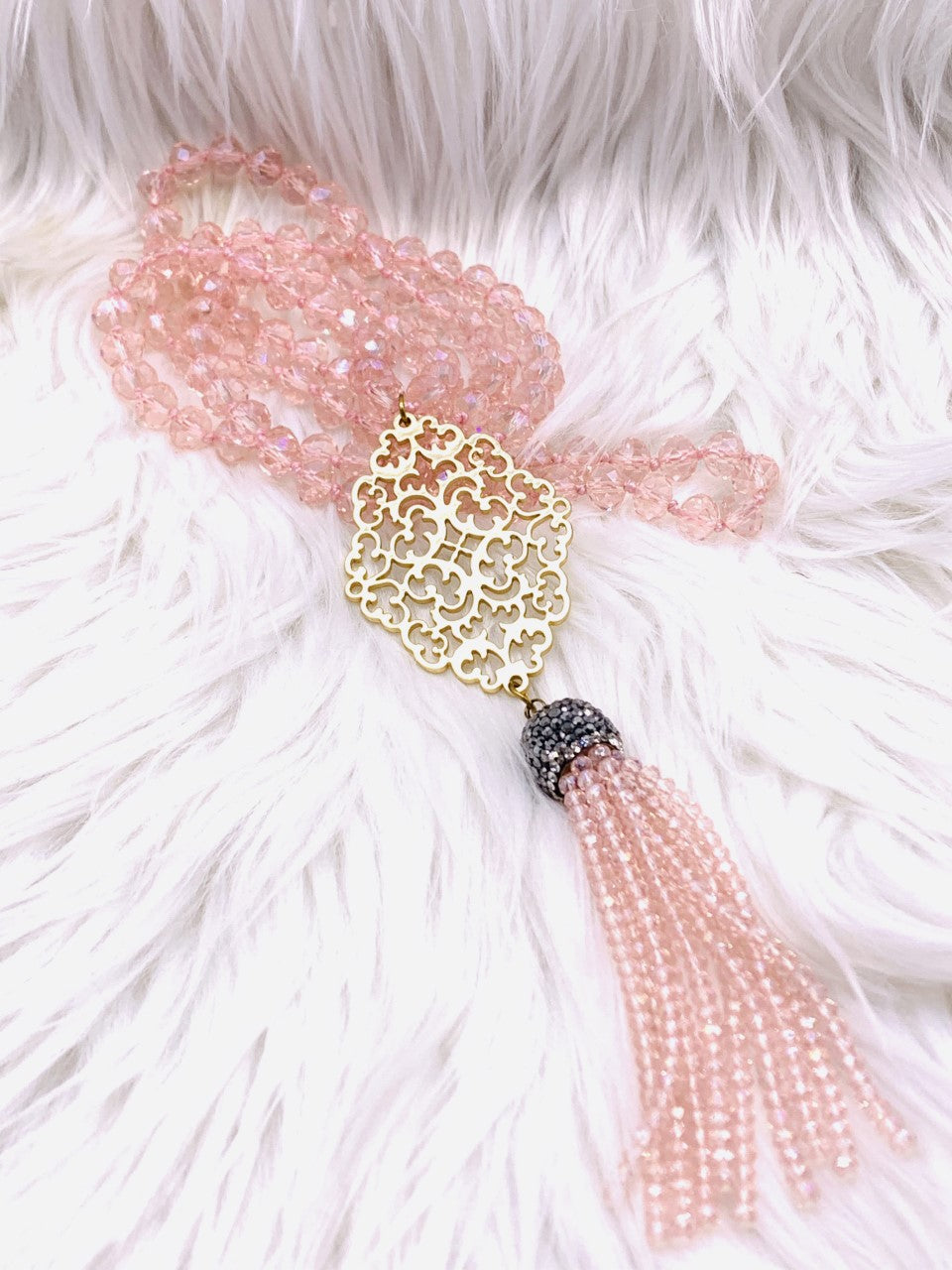 Crystal Bead Medalion Tassel Necklace Pink