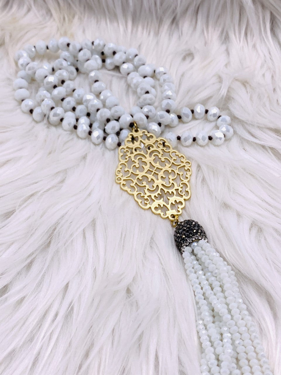 Crystal Bead Medalion Tassel Necklace White