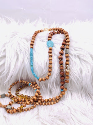 Super Long Wrap Bracelet or Necklace Wooden Beads & Turquoise
