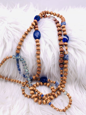 Super Long Wrap Bracelet or Necklace Wooden Beads & Lapis
