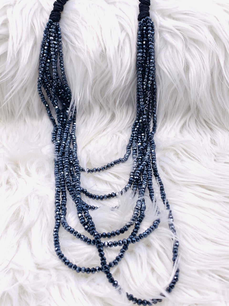 Multi Strand Crystal Necklace Midnight Blue