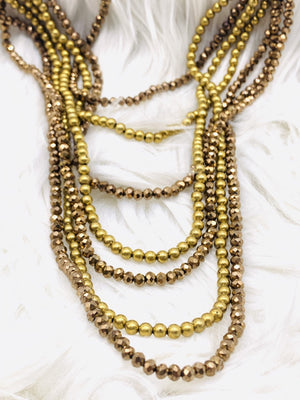 Multi Strand Crystal Necklace Golds