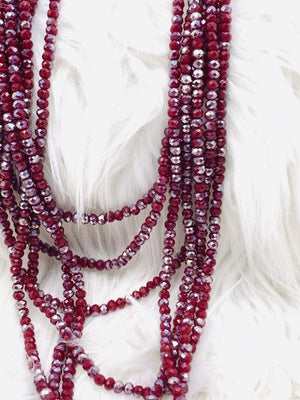 Multi Strand Crystal Necklace Cabernet