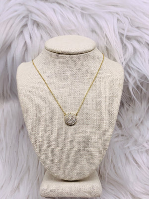CZ Disc Petite Necklace Gold or Silver