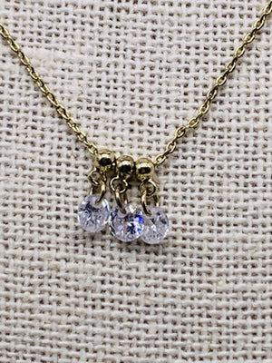 Dancing Diamonds Petite Necklace Gold or Silver