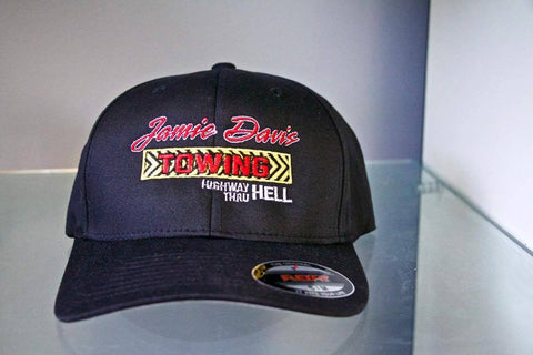 Jamie Davis Towing / signed by Jamie on the side of the hat (sewed in)