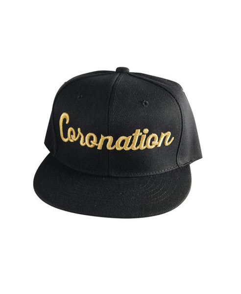 Coronation Script Hat available in the color(s) Black/Gold