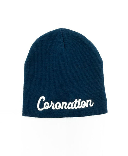 Coronation Script Beanie in Navy/White
