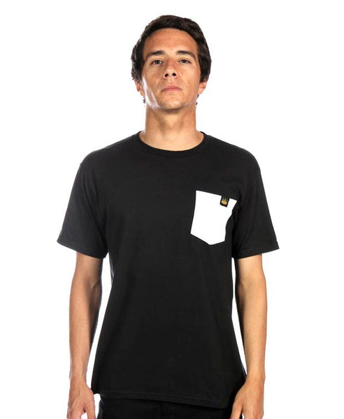 Contrast Pocket Tee in White/Black