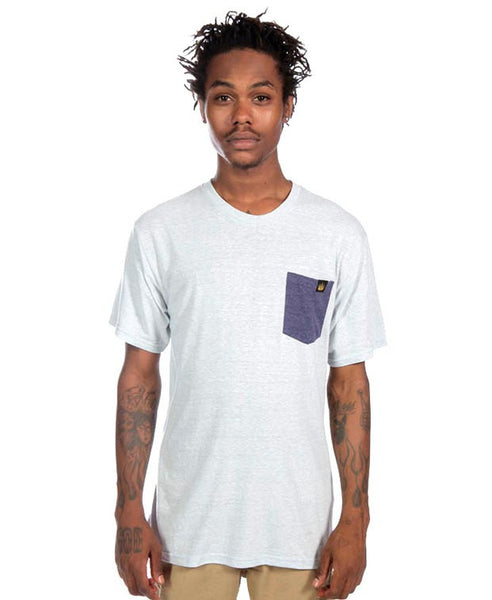 Contrast Pocket Tee in Silver Heather/Purple Heather