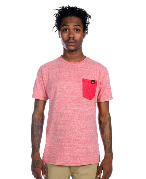 Contrast Pocket Tee in Paprika Heather/Red