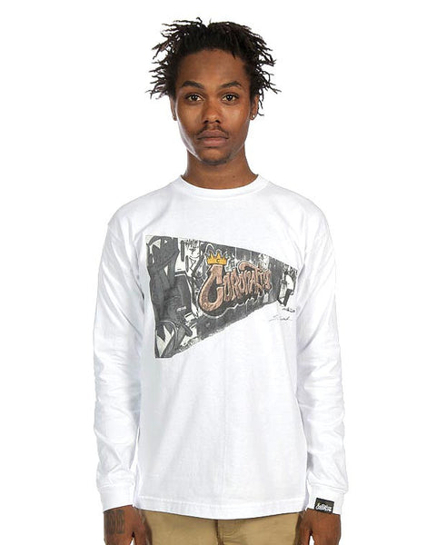 Graffiti Wall L/S Tee in White by Stephan Canthal