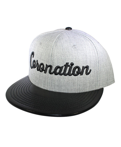 Coronation Script Grey Wool with black leather bill