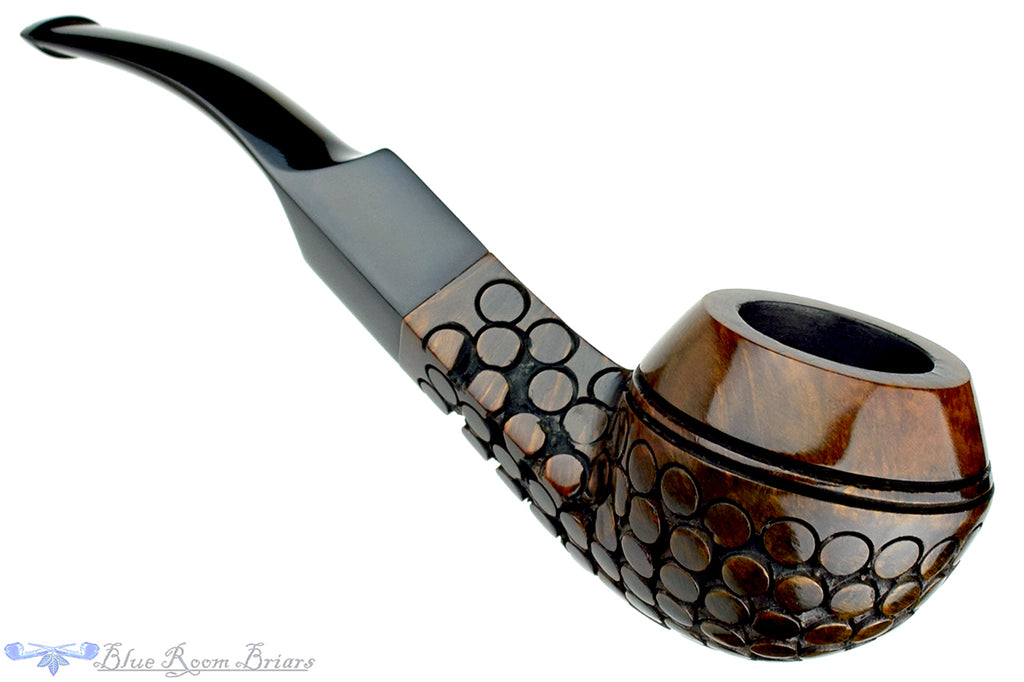 Blue Room Briars is proud to present this Lunar 501 1/4 Bent Carved Bulldog Estate Pipe