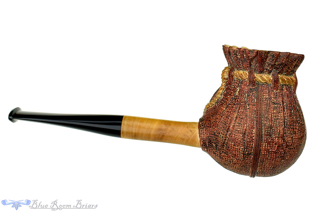 Blue Room Briars is proud to present this Alexa Pipe Olive Wood Carved Tobacco Pouch