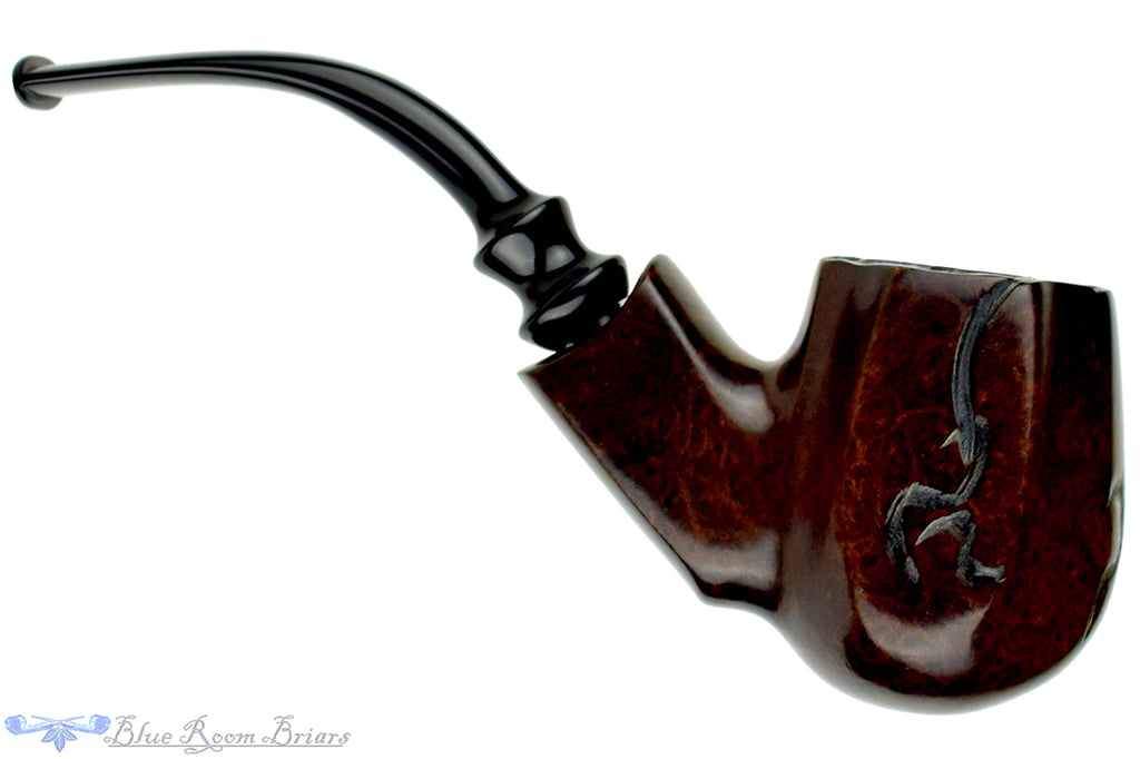Blue Room Briars is proud to present this J. M. Boswell 1/2 Bent Panel Freehand (2001 Make) UNSMOKED Estate Pipe