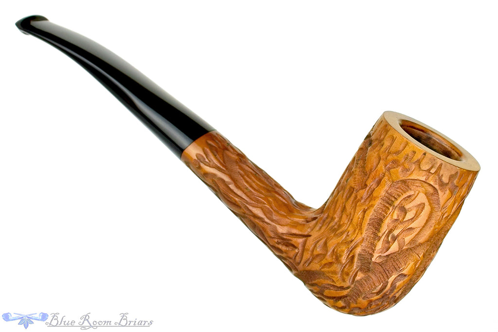 Blue Room Briars is proud to present this Lorenzo Savona Standard 750 Carved Oval Shank Chimney Estate Pipe