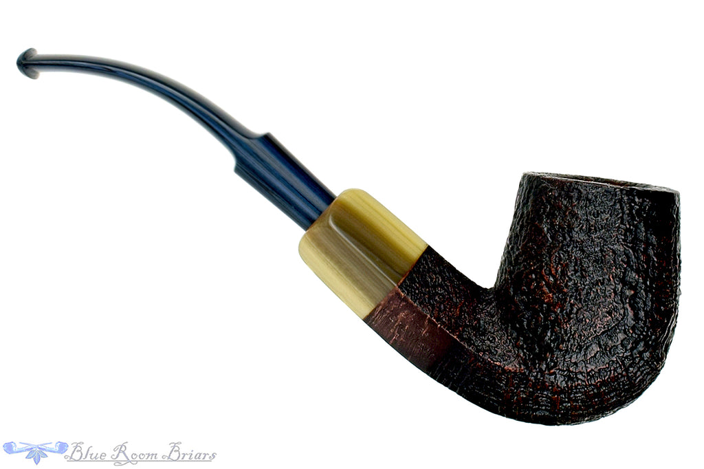 Blue Room Briars is proud to present this Jesse Jones Pipe Antique Blast 1/2 Bent Diamond Shank Billiard with Military Mount