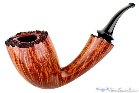 David S. Huber Pipe 1/2 Bent Volcano with Box Elder Ring