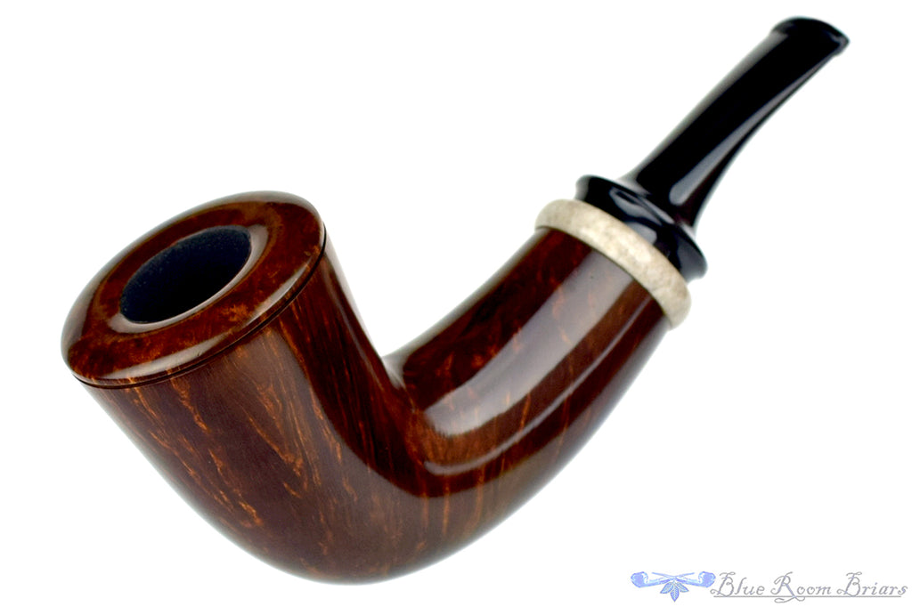 Blue Room Briars is proud to present this Thomas James Pipe Fat Smooth Dublin with Moose Antler
