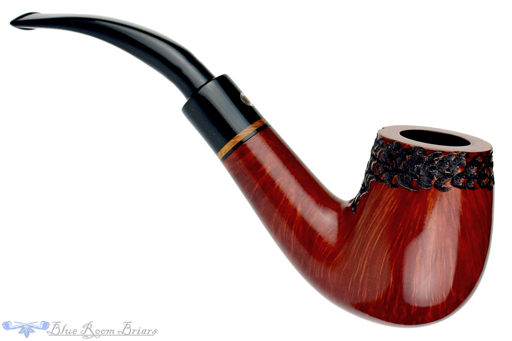 Blue Room Briars is proud to present this T. Cristiano Large Partial Carved 1/2 Bent Billiard with Briar Insert Estate Pipe