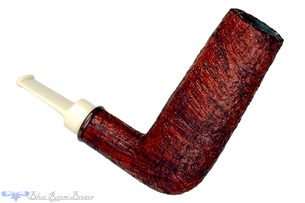 Blue Room Briars is proud to present this Bill Shalosky Pipe 369 Sandblast Scalp Torcher with Kingwood and Custom Bamboo Tamper