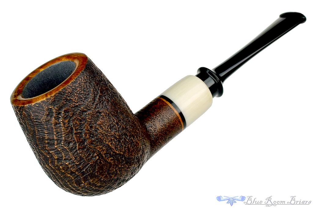 Blue Room Briars is proud to present this Charl Goussard Pipe Sandblast Danish Billiard with Faux Ivory