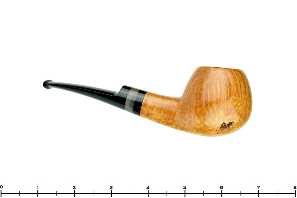 Blue Room Briars is proud to present this Charl Goussard Pipe Half Saddle Apple with Kudu Horn