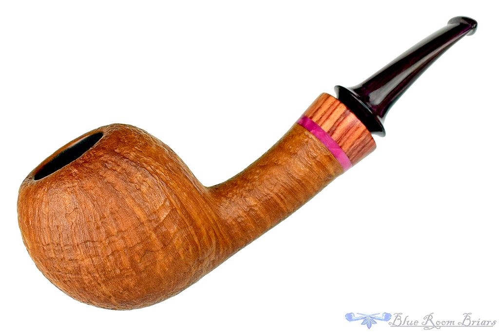 Blue Room Briars is proud to present this Tom Richard Pipe Tan Blast Apple with Rosewood and Purple Brindle