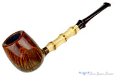 Blue Room Briars is proud to present this Nate King Pipe 442 Smooth Billiard with Bamboo and Brindle