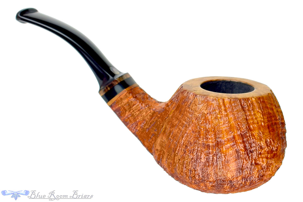 Blue Room Briars is proud to present this Steve Morrisette Pipe 1/2 Bent Tan Blast Tomato with Mother of Pearl Inlay