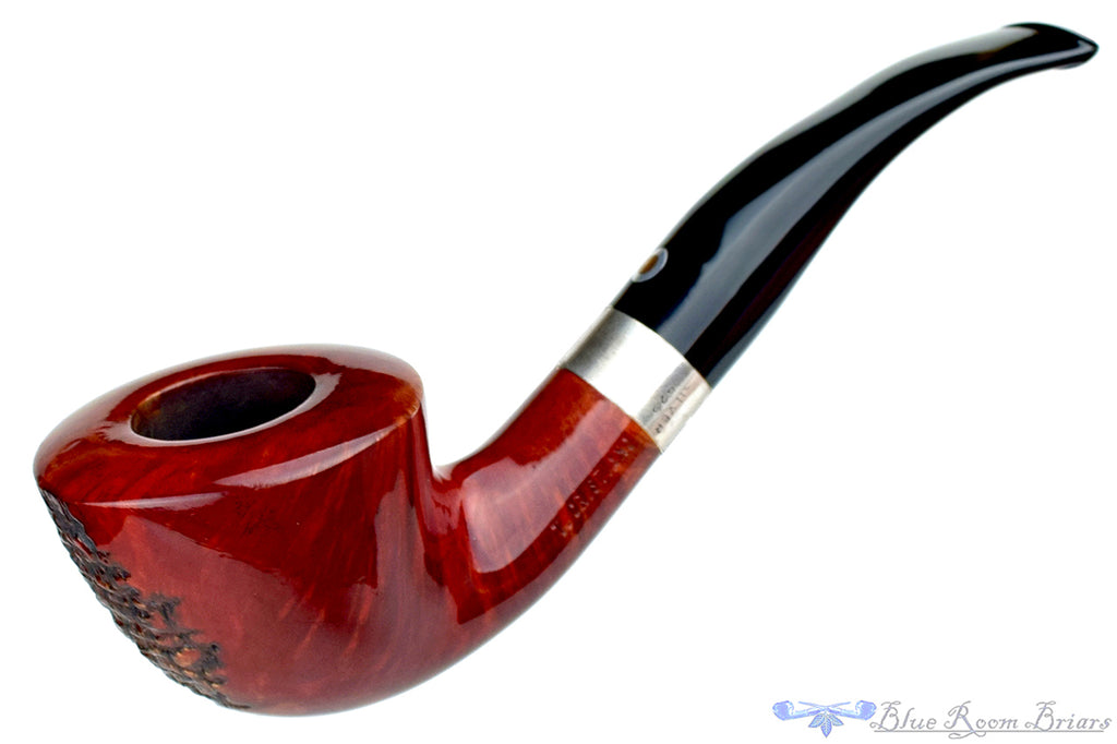 Blue Room Briars is proud to present this T. Cristiano Metamorfosi C509 1/2 Bent Partial Rusticated Horn with Silver Band Estate Pipe