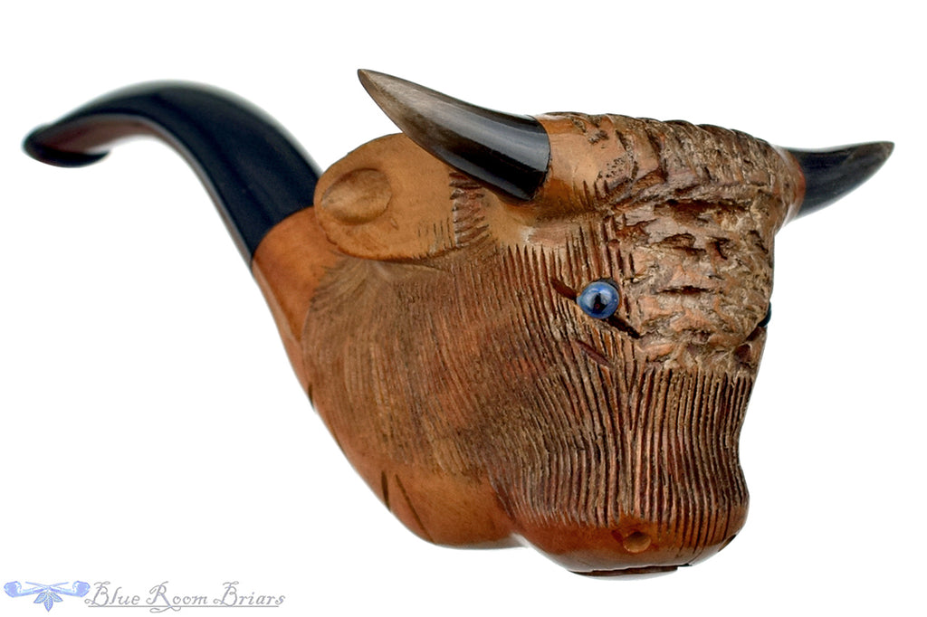 Blue Room Briars is proud to present this Wally Frank Bent Bull Figural with Horn UNSMOKED Estate Pipe