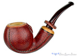 Blue Room Briars is proud to present this Dragomir Aleksic Pipe Carved Olivewood Apple with Brindle
